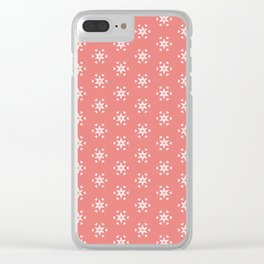 white star pattern on salmonpink color background Clear iPhone Case