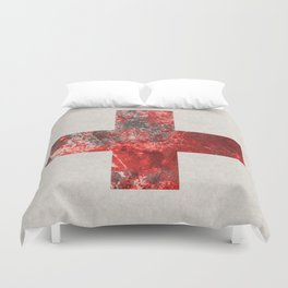 Medic - Abstract Medical Cross In Red And Black Duvet Cover