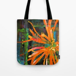 Electric Floral Burst in Tangerine Tote Bag