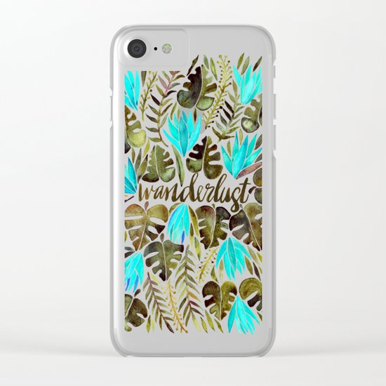 Tropical Wanderlust – Turquoise & Olive Clear iPhone Case