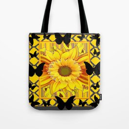 EBONY BUTTERFLIES YELLOW SUNFLOWER GREY ART Tote Bag