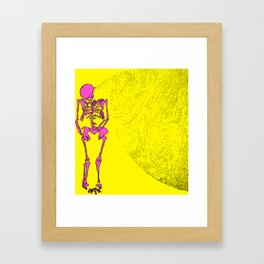 Reborn in the Swarm (Pink on Yellow) Framed Art Print