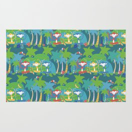 Monkeys Meditating in the Jungle Seamless Pattern Rug