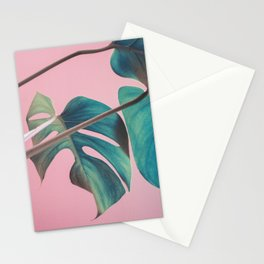 Monsteras on Pink I Stationery Cards