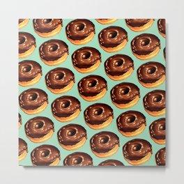 Chocolate Donut Pattern - Teal Metal Print