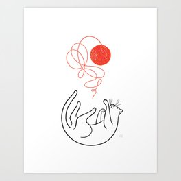 Cat with Ball of Yarn Art Print