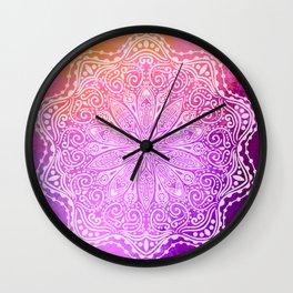 mandala on pink texture Wall Clock