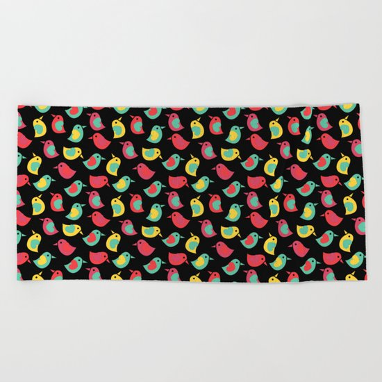 Happy Birds on Black Beach Towel