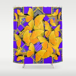 YELLOW BUTTERFLIES SWARMING PURPLE ART Shower Curtain