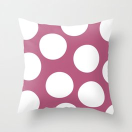 White Polka Dots on Pink Backgroung Throw Pillow