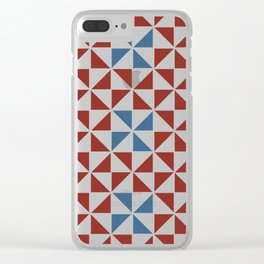 Pinwheel Quilt Pattern in Red and Blue Clear iPhone Case