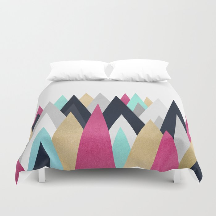 Gold, Pink and Navy Peaks Duvet Cover