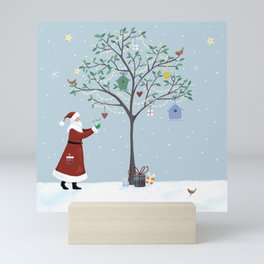 Santa Claus Dressing Tree Mini Art Print