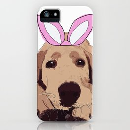 Happy Easter Bunny-Golden Lab dog iPhone Case