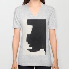Mid Century Modern Minimalist Abstract Art Brush Strokes Black & White Ink Art Colorfield Unisex V-Neck
