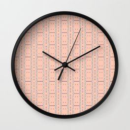 Peach and Silver Tile Square Pattern Wall Clock