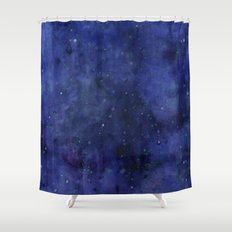 Galaxy Watercolor Nebula Texture Night Sky Stars Shower Curtain