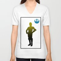 c3po V-neck T-shirts featuring c3po by inkleach
