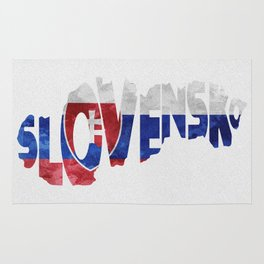Slovensko / Slovakia Typographic Flag / Map Art Rug