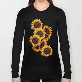 Sunflowers yellow navy blue elegant colorful pattern Long Sleeve T-shirt