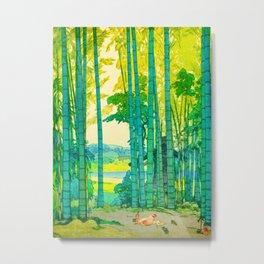 Yoshida Hiroshi Bamboo Grove Vintage Japanese Woodblock Print Bright Green Bamboo Landscape Forest Metal Print