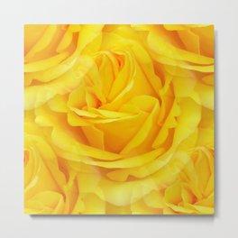 Modern Abstract Seamless Yellow Rose Petals Metal Print