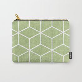 Lime Green and White - Geometric Textured Cube Design Carry-All Pouch