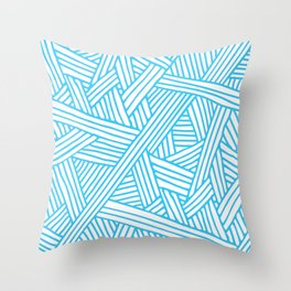 Abstract Teal & white Lines and Triangles Pattern - Mix and Match with Simplicity of Life Throw Pillow