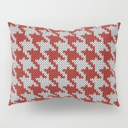 Classic houndstooth knitted Red & White Pillow Sham