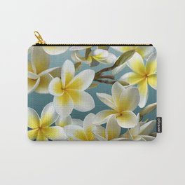 Plumeria on Blue Carry-All Pouch