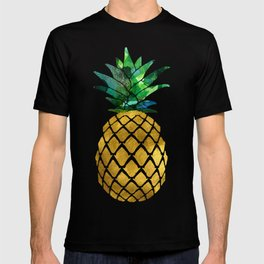Gold Leaf Pineapple on Marble Background T-shirt