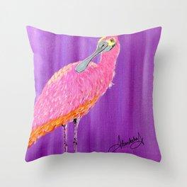 Spoonbill bird Throw Pillow