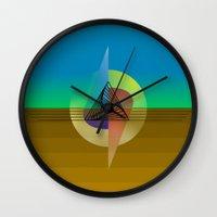 fifth element Wall Clocks featuring Element by Erik Decker