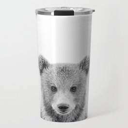 Baby Bear Black & White, Woodland Nursery Decor, Baby Animals Art Print by Synplus Travel Mug