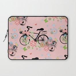 Bicycle and Colorful Floral Ornament Laptop Sleeve
