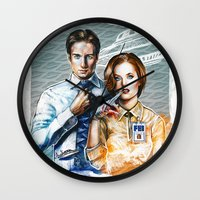 scully Wall Clocks featuring Mulder and Scully by Tatiana Anor