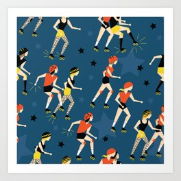 Roller Derby Girls Art Print