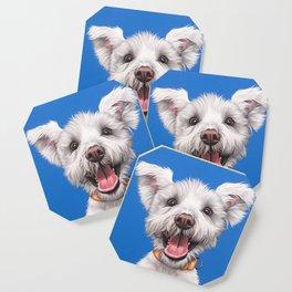 Joyful White Puppy Dog, Smiling Dog Portrait, Sweet Dog Wall Art Coaster