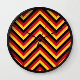 Yellow Red and Black German Flag Colors Jumbo Chevron Pattern Wall Clock