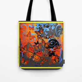 Stormy Weather Purple Monarch  Butterflies Charcoal Surrealism Tote Bag
