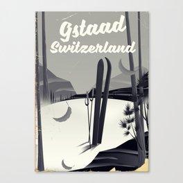 Gstaad Switzerland ski poster. Canvas Print