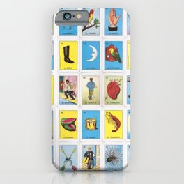 Mexican Loteria Bingo Card Spanish Tarot Card Design iPhone Case