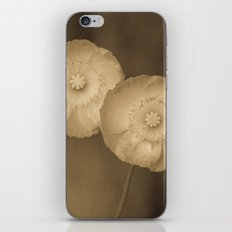 Twins -- Sepia Poppy Flowers iPhone & iPod Skin