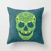 sugar skull Throw Pillows featuring Sugar skull by Julia Badeeva