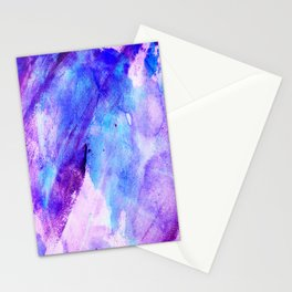 Watercolor hand painted pink teal lavender brushstrokes Stationery Cards