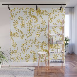 Gold Paisley Floral Wall Mural
