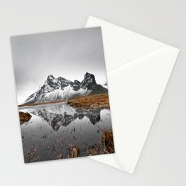 Mountain range with reflection Stationery Cards