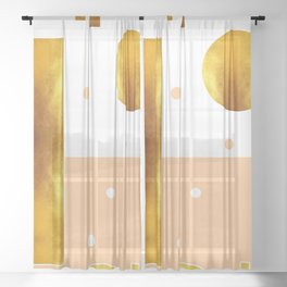 White, Beige And Gold Abstract - Minimal Abstract - Geometric Pattern - Modern Wall Decor Sheer Curtain