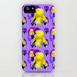 LILAC MONTAGE YELLOW IRIS PURPLE PANSY ART iPhone Case