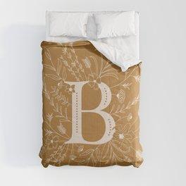 Botanical Letter B (Mustard Yellow) Comforters
